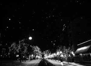 Snowy Christmas Evening in Naperville